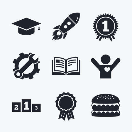 medal like: Award achievement, spanner and cog, startup rocket and burger. Graduation icons. Graduation student cap sign. Education book symbol. First place award. Winners podium. Flat icons.