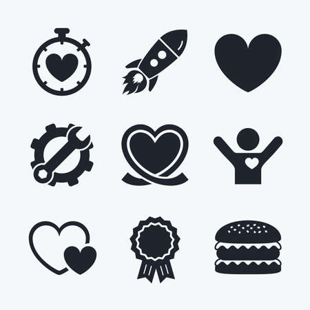 palpitation: Award achievement, spanner and cog, startup rocket and burger. Heart ribbon icon. Timer stopwatch symbol. Love and Heartbeat palpitation signs. Flat icons.