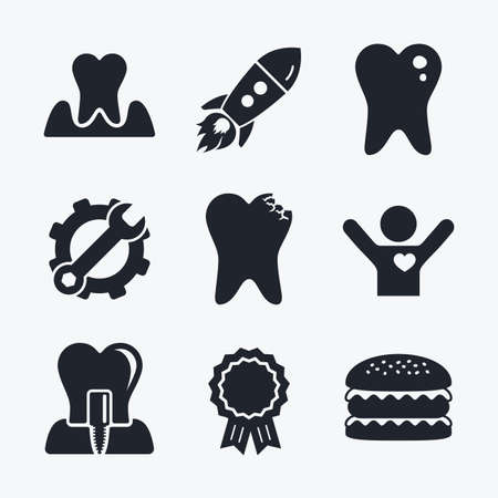 gingivitis: Award achievement, spanner and cog, startup rocket and burger. Dental care icons. Caries tooth sign. Tooth endosseous implant symbol. Parodontosis gingivitis sign. Flat icons.