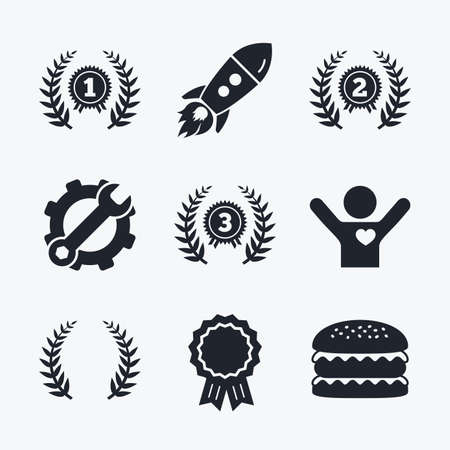 medal like: Award achievement, spanner and cog, startup rocket and burger. Laurel wreath award icons. Prize for winner signs. First, second and third place medals symbols. Flat icons.