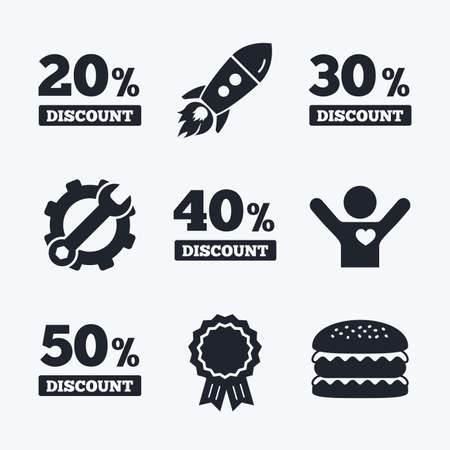 low prizes: Award achievement, spanner and cog, startup rocket and burger. Sale discount icons. Special offer price signs. 20, 30, 40 and 50 percent off reduction symbols. Flat icons. Illustration