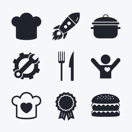 stew: Award achievement, spanner and cog, startup rocket and burger. Chief hat and cooking pan icons. Fork and knife signs. Boil or stew food symbols. Flat icons.