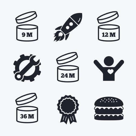 expiration date: Award achievement, spanner and cog, startup rocket and burger. After opening use icons. Expiration date 9-36 months of product signs symbols. Shelf life of grocery item. Flat icons.