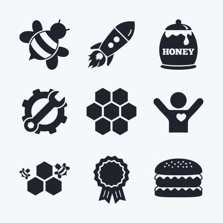 honeycomb like: Award achievement, spanner and cog, startup rocket and burger. Honey icon. Honeycomb cells with bees symbol. Sweet natural food signs. Flat icons.