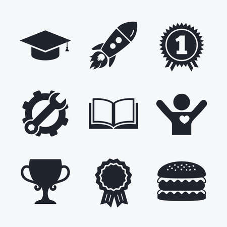 medal like: Award achievement, spanner and cog, startup rocket and burger. Graduation icons. Graduation student cap sign. Education book symbol. First place award. Winners cup. Flat icons.