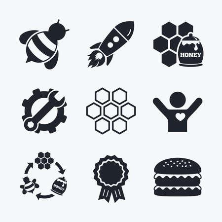 Award achievement, spanner and cog, startup rocket and burger. Honey icon. Honeycomb cells with bees symbol. Sweet natural food signs. Flat icons.