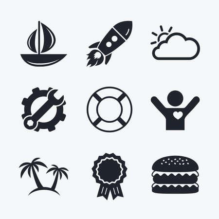 llave de sol: logro Premio, la llave y la rueda dentada, cohete de inicio y hamburguesa. Iconos del recorrido. Barco de vela con los símbolos de los aros salvavidas. Nube con el signo del tiempo sol. Palmera. iconos planos. Vectores