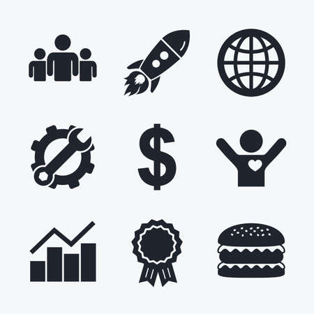 friend chart: Award achievement, spanner and cog, startup rocket and burger. Business icons. Graph chart and globe signs. Dollar currency and group of people symbols. Flat icons.