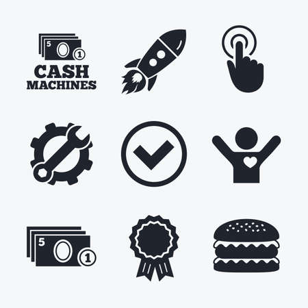withdrawal: Award achievement, spanner and cog, startup rocket and burger. ATM cash machine withdrawal icons. Click here, check PIN number, processing and cash withdrawal symbols. Flat icons.