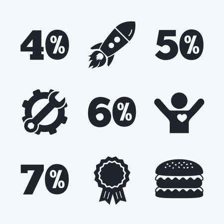 low prizes: Award achievement, spanner and cog, startup rocket and burger. Sale discount icons. Special offer price signs. 40, 50, 60 and 70 percent off reduction symbols. Flat icons.