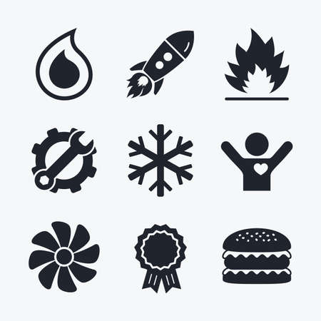 Award achievement, spanner and cog, startup rocket and burger. HVAC icons. Heating, ventilating and air conditioning symbols. Water supply. Climate control technology signs. Flat icons.