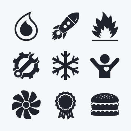 Award prestatie, moersleutel en radertje, startup raket en hamburger. HVAC pictogrammen. Verwarming, ventilatie en airconditioning symbolen. Water voorraad. Climate control technologie tekenen. Vlakke pictogrammen. Stock Illustratie