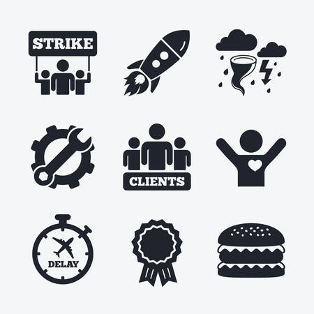 delayed: Award achievement, spanner and cog, startup rocket and burger. Strike icon. Storm bad weather and group of people signs. Delayed flight symbol. Flat icons. Illustration