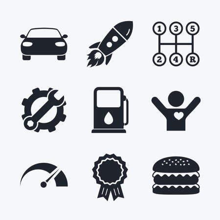 transmission: Award achievement, spanner and cog, startup rocket and burger. Transport icons. Car tachometer and manual transmission symbols. Petrol or Gas station sign. Flat icons. Illustration
