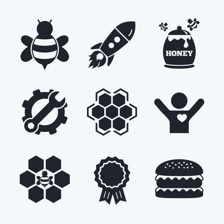 fructose: Award achievement, spanner and cog, startup rocket and burger. Honey icon. Honeycomb cells with bees symbol. Sweet natural food signs. Flat icons.