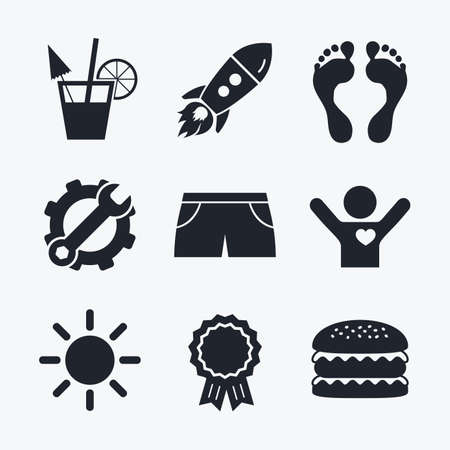swimming trunks: Award achievement, spanner and cog, startup rocket and burger. Beach holidays icons. Cocktail, human footprints and swimming trunks signs. Summer sun symbol. Flat icons. Illustration