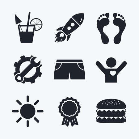 llave de sol: logro Premio, la llave y la rueda dentada, cohete de inicio y hamburguesa. Beach holidays iconos. Cóctel, huellas de humanos y troncos de natación signos. símbolo del sol de verano. iconos planos. Vectores