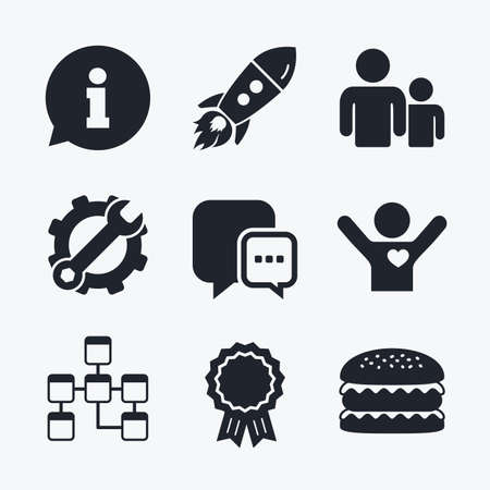 mysql: Award achievement, spanner and cog, startup rocket and burger. Information sign. Group of people and database symbols. Chat speech bubbles sign. Communication icons. Flat icons.
