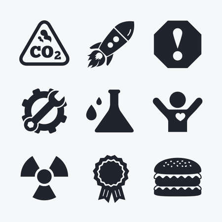 danger carbon dioxide  co2  labels: Award achievement, spanner and cog, startup rocket and burger. Attention and radiation icons. Chemistry flask sign. CO2 carbon dioxide symbol. Flat icons.