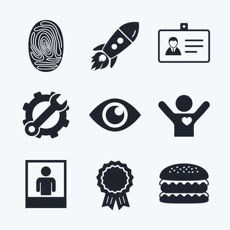 authentication: Award achievement, spanner and cog, startup rocket and burger. Identity ID card badge icons. Eye and fingerprint symbols. Authentication signs. Photo frame with human person. Flat icons. Illustration