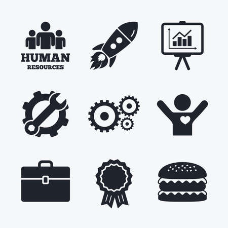 love icon: Award achievement, spanner and cog, startup rocket and burger. Human resources and Business icons. Presentation board with charts signs. Case and gear symbols. Flat icons. Illustration