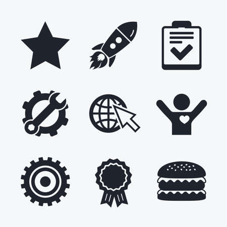 star award: Award achievement, spanner and cog, startup rocket and burger. Star favorite and globe with mouse cursor icons. Checklist and cogwheel gear sign symbols. Flat icons.