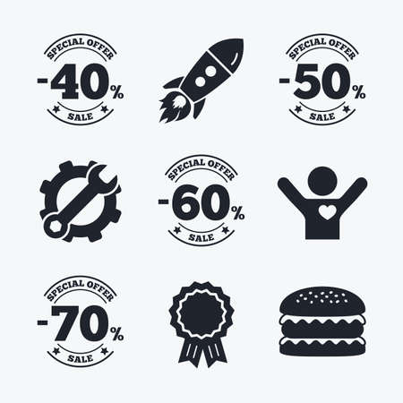 low prizes: Award achievement, spanner and cog, startup rocket and burger. Sale discount icons. Special offer stamp price signs. 40, 50, 60 and 70 percent off reduction symbols. Flat icons.