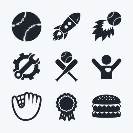 crosswise: Award achievement, spanner and cog, startup rocket and burger. Baseball sport icons. Ball with glove and two crosswise bats signs. Fireball symbol. Flat icons.