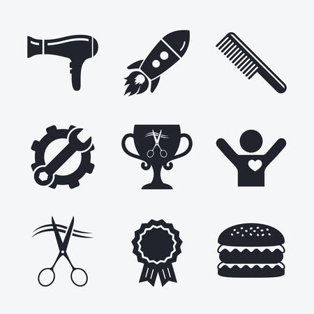 blow drying: Award achievement, spanner and cog, startup rocket and burger. Hairdresser icons. Scissors cut hair symbol. Comb hair with hairdryer symbol. Barbershop winner award cup. Flat icons. Illustration