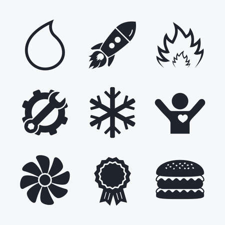 water supply: Award achievement, spanner and cog, startup rocket and burger. HVAC icons. Heating, ventilating and air conditioning symbols. Water supply. Climate control technology signs. Flat icons.