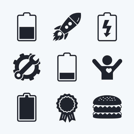 stored: Award achievement, spanner and cog, startup rocket and burger. Battery charging icons. Electricity signs symbols. Charge levels: full, half and low. Flat icons.