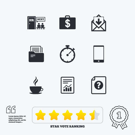 star symbol: Office, documents and business icons. Accounting, human resources and phone signs. Mail, salary and statistics symbols. Star vote ranking. Award achievement and quotes.