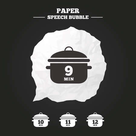 10 12: Cooking pan icons. Boil 9, 10, 11 and 12 minutes signs. Stew food symbol. Paper speech bubble with icon.