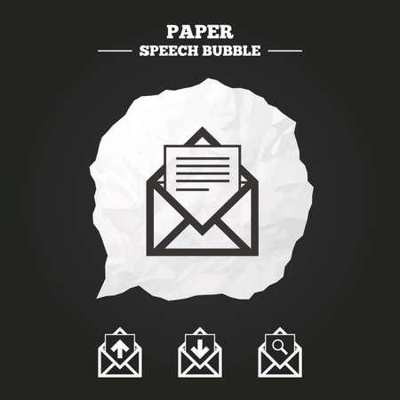 outbox: Mail envelope icons. Find message document symbol. Post office letter signs. Inbox and outbox message icons. Paper speech bubble with icon.