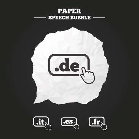 es: Top-level internet domain icons. De, It, Es and Fr symbols with hand pointer. Unique national DNS names. Paper speech bubble with icon.
