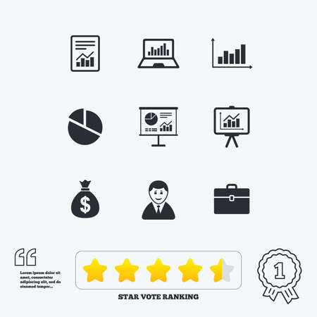 business case: Statistics, accounting icons. Charts, presentation and pie chart signs. Analysis, report and business case symbols. Star vote ranking. Award achievement and quotes.