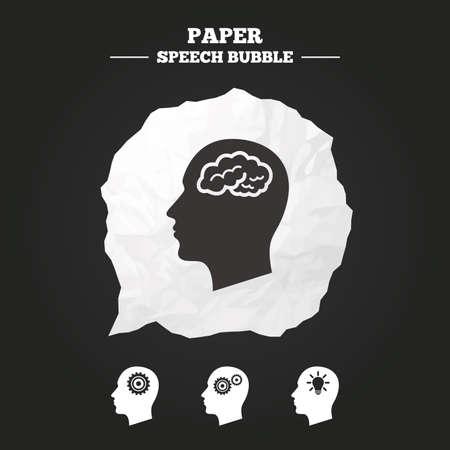 cabeza: La cabeza con el cerebro y la lámpara iconos idea de bulbo. Masculinos símbolos de pensamiento humanos. engranajes de cremallera, signos. burbuja de papel del discurso con el icono.