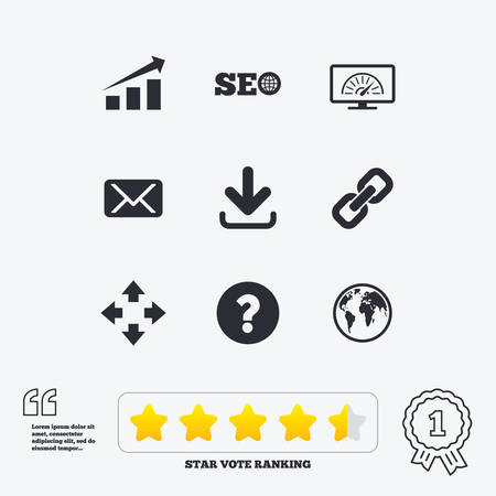 bandwidth: Internet, seo icons. Bandwidth speed, download arrow and mail signs. Hyperlink, monitoring symbols. Star vote ranking. Award achievement and quotes.