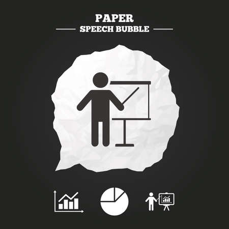 demand: Diagram graph Pie chart icon. Presentation billboard symbol. Supply and demand. Man standing with pointer. Paper speech bubble with icon. Illustration