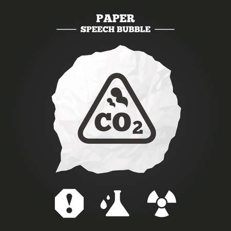 danger carbon dioxide  co2  labels: Attention and radiation icons. Chemistry flask sign. CO2 carbon dioxide symbol. Paper speech bubble with icon.