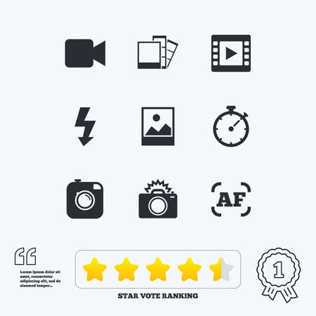 auto focus: Photo, video icons. Camera, photos and frame signs. Flash, timer and landscape symbols. Star vote ranking. Award achievement and quotes.