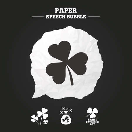 shamrock: Saint Patrick day icons. Money bag with clover and coins sign. Trefoil shamrock clover. Symbol of good luck. Paper speech bubble with icon.