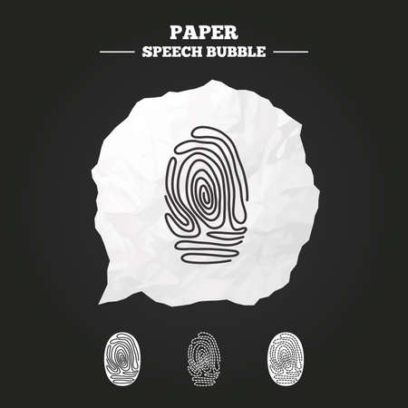 biometric: Fingerprint icons. Identification or authentication symbols. Biometric human dabs signs. Paper speech bubble with icon. Illustration