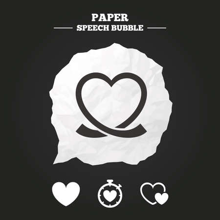 palpitation: Heart ribbon icon. Timer stopwatch symbol. Love and Heartbeat palpitation signs. Paper speech bubble with icon.