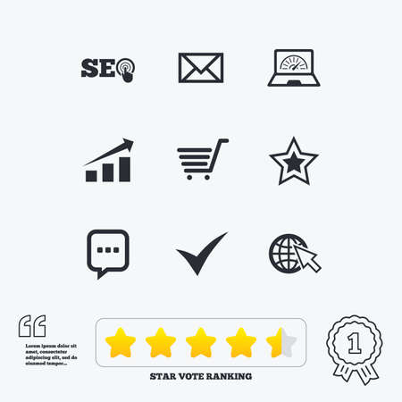 bandwidth: Internet, seo icons. Tick, online shopping and chart signs. Bandwidth, mobile device and chat symbols. Star vote ranking. Award achievement and quotes. Illustration