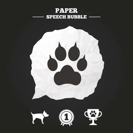 clutches: Pets icons. Cat paw with clutches sign. Winner cup and medal symbol. Dog silhouette. Paper speech bubble with icon.