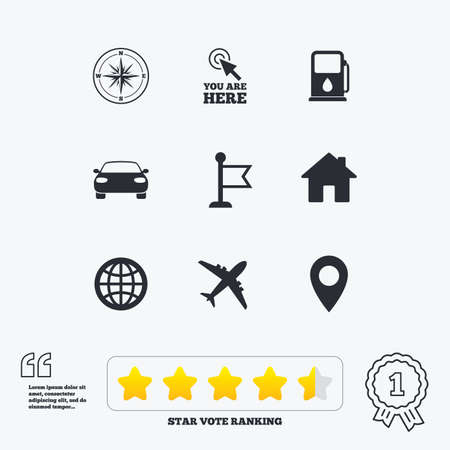 vote here: Navigation, gps icons. Windrose, compass and map pointer signs. Car, airplane and flag symbols. Star vote ranking. Award achievement and quotes.