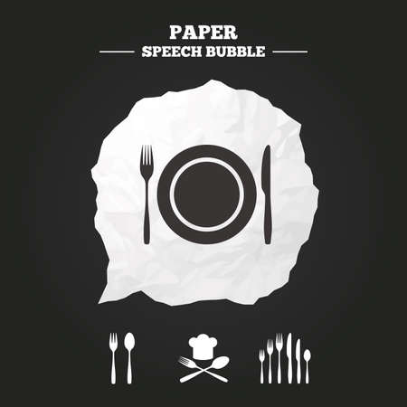 dessert fork: Plate dish with forks and knifes icons. Chief hat sign. Crosswise cutlery symbol. Dessert fork. Paper speech bubble with icon.