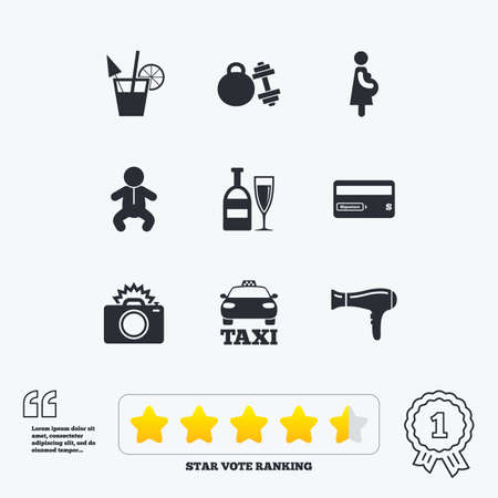 pregnancy exercise: Hotel, apartment service icons. Fitness gym. Alcohol cocktail, taxi and hairdryer symbols. Star vote ranking. Award achievement and quotes. Illustration