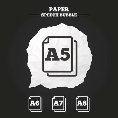 Paper size standard icons. Document symbols. A5, A6, A7 and A8 page signs. Paper speech bubble with icon.